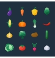 Icons Vegetables Flat Style Set Isolated vector image