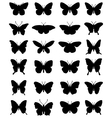 silhouettes of butterflies 24 vector image