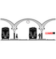 an ancient arched metal building of the railway vector image