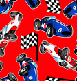 Red white and blue racing cars seamless pattern vector image