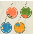 Set of 4 retro autumn tags vector image