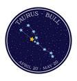 taurus zodiac constellation in space round icon vector image