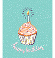 Birthday cupcake with candle bright poster with vector image
