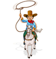 An old man riding in a horse vector image