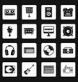 recording studio items icons set squares vector image vector image