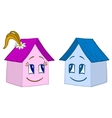 houses girl and boy contours vector image vector image