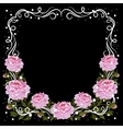 Vintage frame with pink peonies vector image