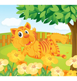 A tiger in the fenced garden vector image