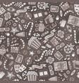 cartoon cute hand drawn cinema seamless pattern vector image