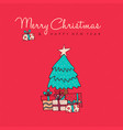 christmas and new year red pine tree doodle card vector image