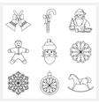 Set Christmas Thin Line Icons vector image