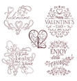 Valentines Day set Calligraphic design elements vector image