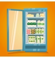 Refrigerator Full of Dairy Products vector image