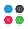 Fishing hook compass and hiking boots icons vector image