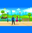 light city park landscape romantic template vector image