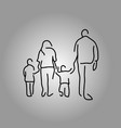 back of four people family holding hand vector image