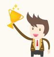 Businessman holding trophy success concept vector image