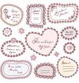 cute doodle floral frame set vector image