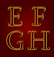 e f g h golden vintage letters with shadow vector image