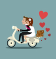 Happy married couple on a moped vector image