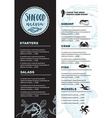 Menu seafood restaurant template placemat vector image
