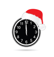 new year clock with christmas hat vector image