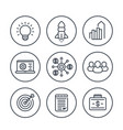 startup line icons in circles over white product vector image