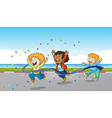 Three boys running through finish line vector image