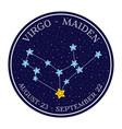 virgo zodiac constellation in space round icon vector image