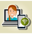 woman laptop smartphone social vector image