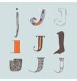 set of colorful alphabet letters J vector image