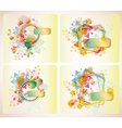 set of four floral cards vector image vector image