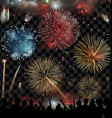 Holiday Celebration with fireworks show at night vector image vector image
