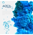 Aqua blue ink in water template with bubbles vector image