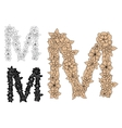 Capital letter M with blooming flowers vector image