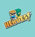 great superhero couple vector image