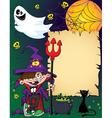 Halloween wizard boy vector image