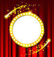 Retro light circle sign and red curtain vector image