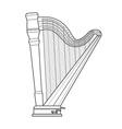 dark outline pedal harp technical vector image