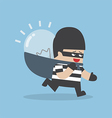 Thief stealing idea bulb and carrying on his back vector image