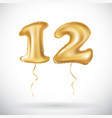 12 anniversary celebration with brilliant gold vector image