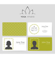 Logo and business cards for yoga studio vector image vector image