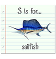 Letter S is for sailfish vector image