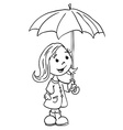 black ad white little girl with umbrella vector image