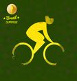 Brazil summer bicycle sport card with an yellow ab vector image