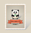 card with a line art cute animal pand vector image