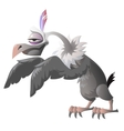 Funny cartoon vulture on a white background vector image