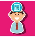 man and calculator isolated icon design vector image