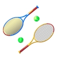 Two tennis racket and ball vector image
