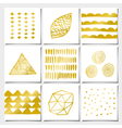 white and golden abstract geometric designs set vector image